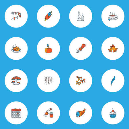Festival icons colored line set with cornucopia, paper garland, umbrella teacup elements. Isolated vector illustration festival icons.