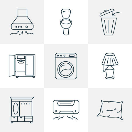 Decor icons line style set with exhaust hood, washing machine, pillow and other closet elements. Isolated vector illustration decor icons.