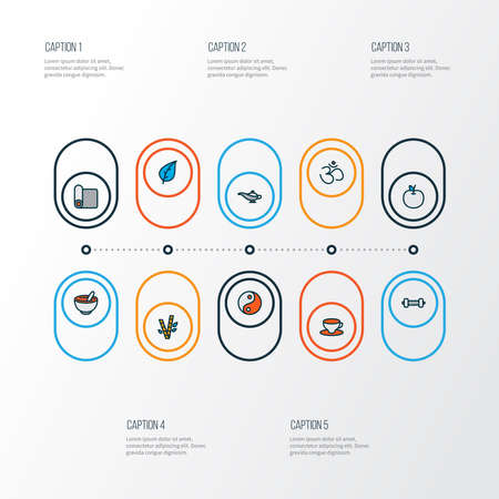 Meditation icons colored line set with fruit, yoga mat, hinduism and other apple elements. Isolated vector illustration meditation icons. 向量圖像
