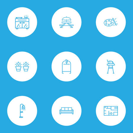House icons line style set with picnic table, couch, sideboard and other painting elements. Isolated vector illustration house icons.