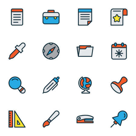 Stationery icons colored line set with globe, brush, eyedropper and other suitcase elements. Isolated vector illustration stationery icons.