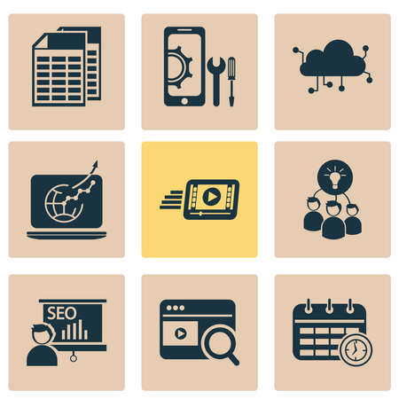 Business icons set with brainstorming, video search, traffic growth and other setup elements. Isolated vector illustration business icons.