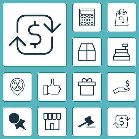 E-commerce icons set with return item, refund money, auction and other present elements. Isolated vector illustration e-commerce icons. Ilustração