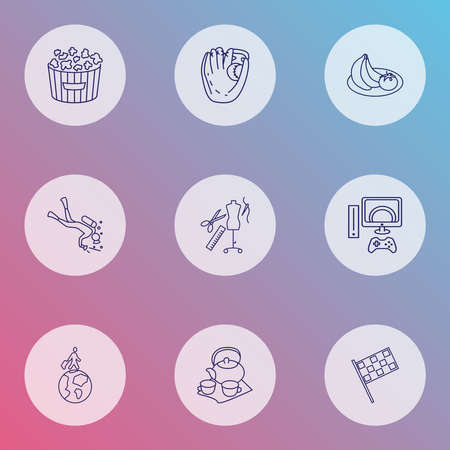 Lifestyle icons line style set with popcorn, tailoring, diving and other cinema snack elements. Isolated illustration lifestyle icons.