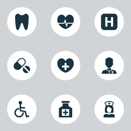 Medicine icons set with pulse, tooth, nurse and other pills elements. Isolated vector illustration medicine icons.