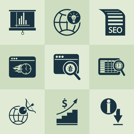 Business icons set with global solution, immediate response, bug fixing and other goal elements. Isolated vector illustration business icons.
