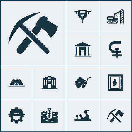 Construction icons set with library, boer, auger and other blade elements. Isolated illustration construction icons. 写真素材