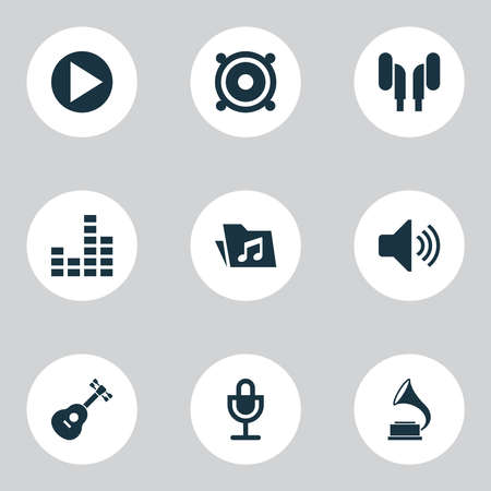 Multimedia icons set with volume, play, speaker and other megaphone elements. Isolated vector illustration multimedia icons.