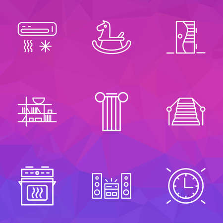 House icons line style set with sound system, rocking horse, stairs and other ladder elements. Isolated illustration house icons.