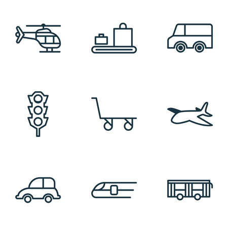 Vehicle icons set with truck, automobile, traffic lights and other vehicle elements. Isolated vector illustration vehicle icons.