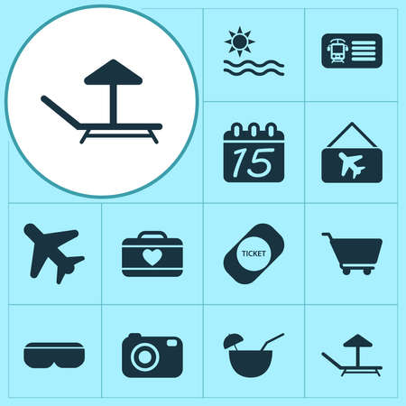 Travel icons set with coconut cocktail, sea, lounger and other tropical drink elements. Isolated vector illustration travel icons. Ilustracje wektorowe