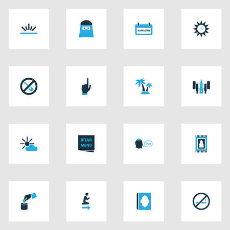 Holiday icons colored set with do not smoke, fajr, palms and other cigarette forbidden elements. Isolated vector illustration holiday icons.