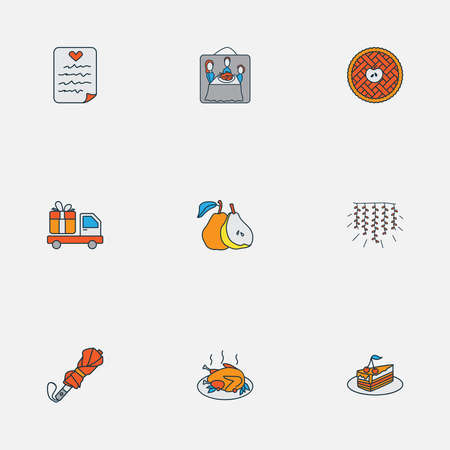 Festival icons colored line set with umbrella, piece of cake, thanksgiving photo and other tart elements. Isolated vector illustration festival icons.