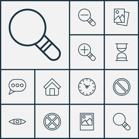 Network icons set with home, zoom in, decrease loup and other landscape photo elements. Isolated vector illustration network icons. Ilustración de vector