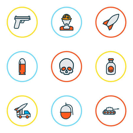 Army icons colored line set with military rocket, skull, bullet and other bomb elements. Isolated vector illustration army icons.