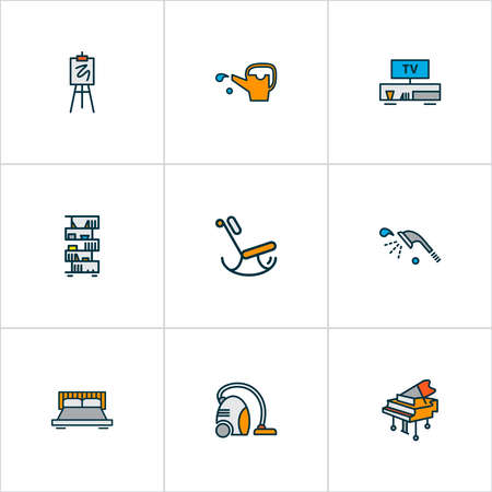 House icons colored line set with rocking chair, grand piano, double bed television elements. Isolated vector illustration house icons.