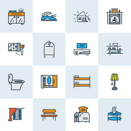 Decor icons colored line set with sideboard, toilet, wardrobe and other light elements. Isolated vector illustration decor icons.
