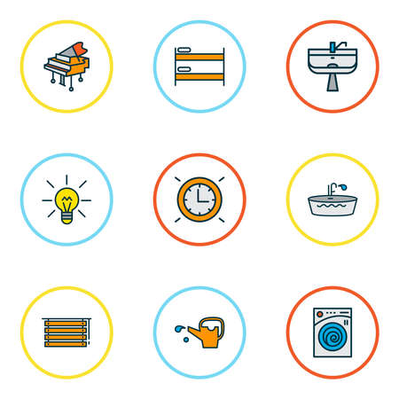 Decor icons colored line set with grand piano, wall clock, wash stand hostel elements. Isolated vector illustration decor icons.