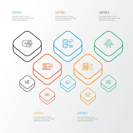 SEO icons line style set with search optimization, reputation management, spreadsheets and other website performance elements. Isolated vector illustration SEO icons.