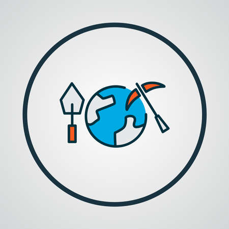 Geoscience icon colored line symbol. Premium quality isolated geology element in trendy style. Illustration