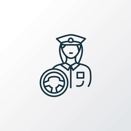 Driver woman icon line symbol. Premium quality isolated profession element in trendy style. 向量圖像