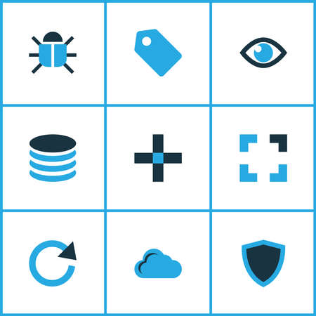 Interface icons colored set with bug, label, full screen and other storage elements. Isolated vector illustration interface icons.