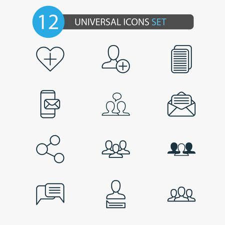 Communication icons set with team, open envelope, webpage and other unity elements. Isolated vector illustration communication icons.