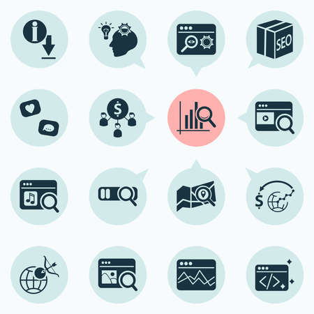 Finance icons set with video search, local search, marketing analytics and other statistics elements. Isolated vector illustration finance icons.  イラスト・ベクター素材