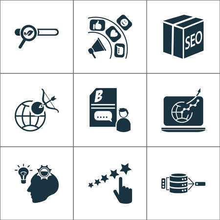 Business icons set with creative idea, data management, reputation management and other goal elements. Isolated vector illustration business icons.