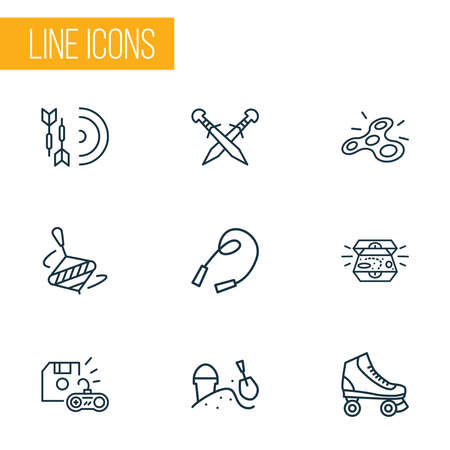 Activity icons line style set with darts, whirligig, sandbox rollerskating elements. Isolated vector illustration activity icons.