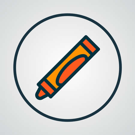 Crayon icon colored line symbol. Premium quality isolated crayon element in trendy style.