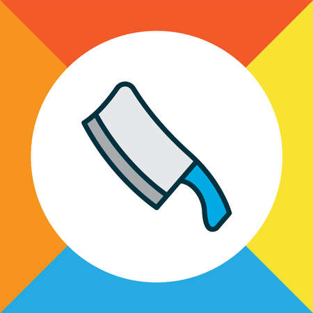 Chopping knife icon colored line symbol. Premium quality isolated butcher element in trendy style. Ilustracja