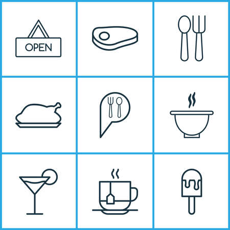 Cafe icons set with martini, soup, disposable tea and other hot drink elements. Isolated vector illustration cafe icons.