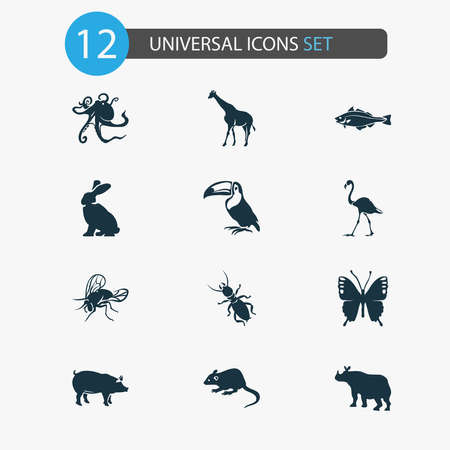 Zoo icons set with pig, mouse, thermit and other rhinoceros elements. Isolated vector illustration zoo icons.