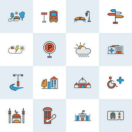 Urban icons colored line set with solar energy, disabled sign, transport ticket and other cloud elements. Isolated vector illustration urban icons. Banque d'images