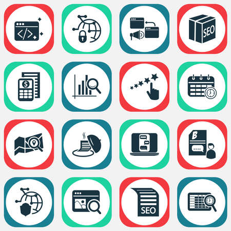 Analytics icons set with SEO package, local search, fresh content and other achievement elements. Isolated vector illustration analytics icons. Illustration