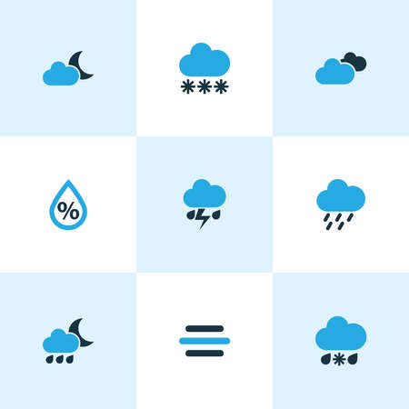 Climate icons colored set with night, overcast, rainstorm and other moonshine elements. Isolated vector illustration climate icons. Illustration