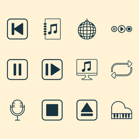 Music icons set with disco ball, repeat, pause music and other tune list elements. Isolated vector illustration music icons.