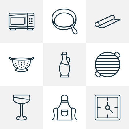 Culinary icons line style set with apron, bbq, skillet and other electric oven elements. Isolated vector illustration culinary icons. 向量圖像
