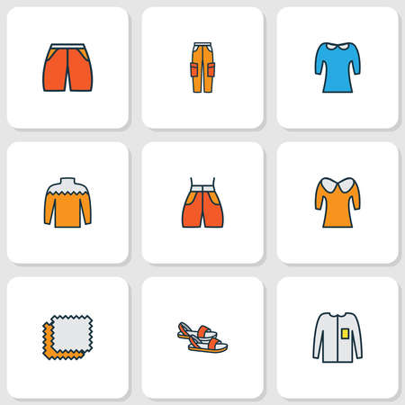 Style icons colored line set with long sleeve, material samples, sandals beachwear elements. Isolated vector illustration style icons. 向量圖像