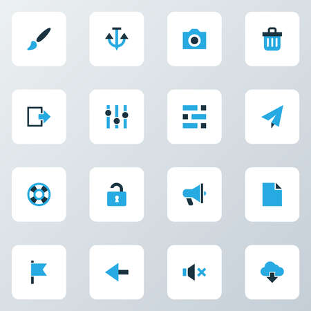 Interface icons colored set with exit, file, back and other lifebuoy elements. Isolated vector illustration interface icons.
