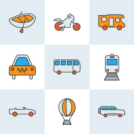 Transport icons colored line set with boat, cabriolet, taxi and other airship elements. Isolated vector illustration transport icons.