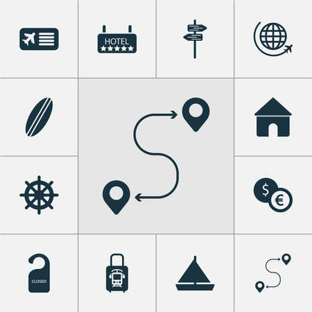 Journey icons set with yacht, the sign is closed, flight and other home elements. Isolated vector illustration journey icons.