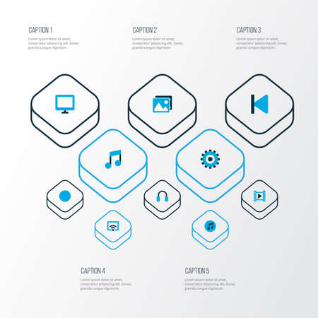 Music icons colored set with setting, wifi, backward and other gear elements. Isolated illustration music icons. 写真素材