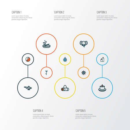 Yoga icons colored line set with paraffin, drop, yin yang and other relaxation elements. Isolated vector illustration yoga icons.