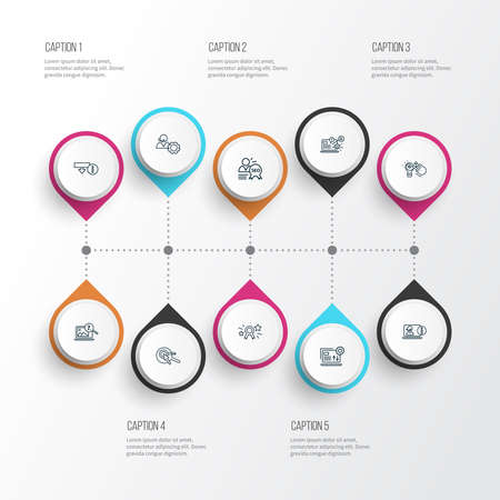 SEO icons line style set with online consulting, SEO specialist, image search and other application elements. Isolated vector illustration SEO icons. Banque d'images