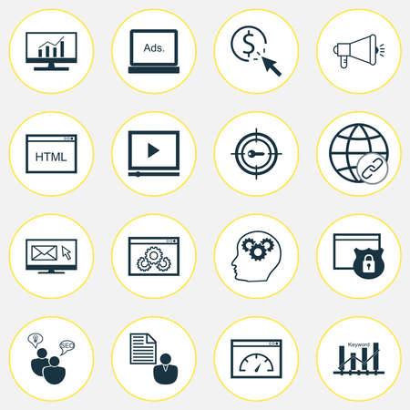 Marketing icons set with keyword ranking, comprehensive analytics, client brief and other intellectual process elements. Isolated vector illustration marketing icons. 向量圖像