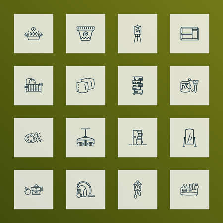 Home decoration icons line style set with floor mirror, cuckoo clock, drawing easel and other cushion elements. Isolated vector illustration home decoration icons.