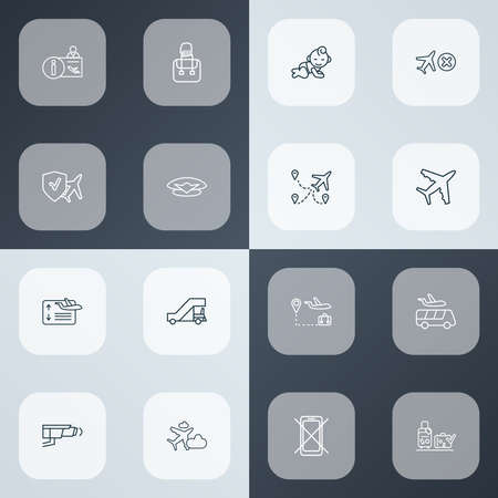 Travel icons line style set with gangway, no mobile phone, video control and other gangplank elements. Isolated vector illustration travel icons.