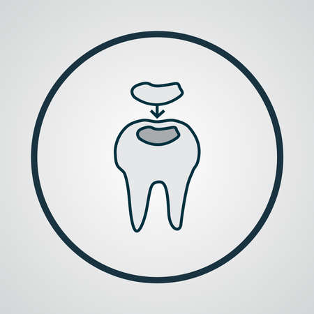 Dental fillings icon colored line symbol. Premium quality isolated cavity element in trendy style. Иллюстрация